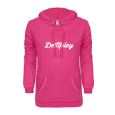 ENZA Ladies Hot Pink V Notch Raw Edge Fleece Hoodie-Demolay Fancy Script