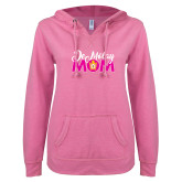 ENZA Ladies Hot Pink V Notch Raw Edge Fleece Hoodie-Demolay Mom
