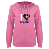 ENZA Ladies Hot Pink V Notch Raw Edge Fleece Hoodie-I Heart Demolay