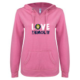 ENZA Ladies Hot Pink V Notch Raw Edge Fleece Hoodie-Love Demolay