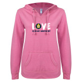 ENZA Ladies Hot Pink V Notch Raw Edge Fleece Hoodie-Love Demolay Sweetheart