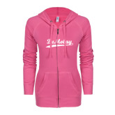 ENZA Ladies Hot Pink Light Weight Fleece Full Zip Hoodie-Demolay Script