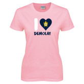 Ladies Pink T-Shirt-I Heart Demolay