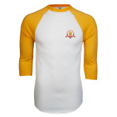 White/Gold Raglan Baseball T-Shirt-Alumni Association