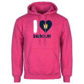 Fuchsia Fleece Hoodie-I Heart Demolay