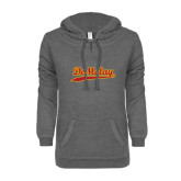 ENZA Ladies Dark Heather V-Notch Raw Edge Fleece Hoodie-Demolay Script