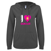 ENZA Ladies Dark Heather V Notch Raw Edge Fleece Hoodie-I Heart Demolay