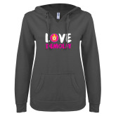 ENZA Ladies Dark Heather V Notch Raw Edge Fleece Hoodie-Love Demolay