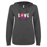 ENZA Ladies Dark Heather V Notch Raw Edge Fleece Hoodie-Love Demolay Sweetheart