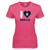 Ladies Fuchsia T Shirt-I Heart Demolay