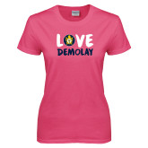 Ladies Fuchsia T Shirt-Love Demolay