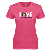 Ladies Fuchsia T Shirt-Love Demolay Sweetheart