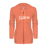 ENZA Ladies Coral Light Weight Fleece Full Zip Hoodie-Demolay Script