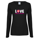 Ladies Black Long Sleeve V Neck T Shirt-Love Demolay Sweetheart