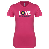 Ladies SoftStyle Junior Fitted Fuchsia Tee-Love Demolay Sweetheart