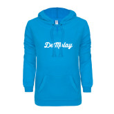 ENZA Ladies Pacific Blue V Notch Raw Edge Fleece Hoodie-Demolay Fancy Script