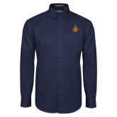 Navy Twill Button Down Long Sleeve-Grand Master