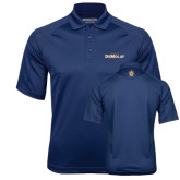 Navy Textured Saddle Shoulder Polo-Emblem