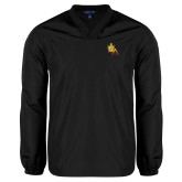 V Neck Black Raglan Windshirt-Masons DeMolay