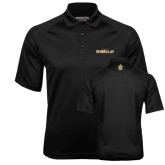 Black Textured Saddle Shoulder Polo-Emblem
