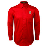 Red Twill Button Down Long Sleeve-Knighthood