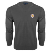 Classic Mens V Neck Charcoal Heather Sweater-Supreme Council