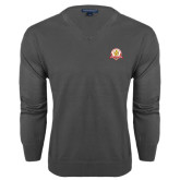 Classic Mens V Neck Charcoal Heather Sweater-Alumni Association