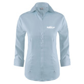 Ladies Red House Light Blue 3/4 Sleeve Shirt-Official Logo