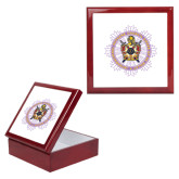 Red Mahogany Accessory Box With 6 x 6 Tile-Emblem in Ring