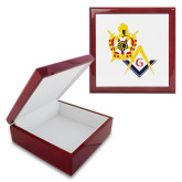 Red Mahogany Accessory Box With 6 x 6 Tile-Masons DeMolay