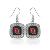 Crystal Studded Square Pendant Silver Dangle Earrings-DU