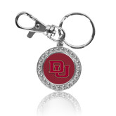 Crystal Studded Round Key Chain-DU