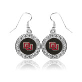 Crystal Studded Round Pendant Silver Dangle Earrings-DU