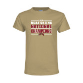 Youth Khaki Gold T Shirt-2018 NCAA Skiing National Champions
