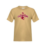 Youth Khaki Gold T Shirt-Mens NCAA Lacrosse Champs