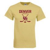 Champion Vegas Gold T Shirt-Denver Hockey Tall Crossed Sticks