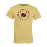 Champion Vegas Gold T Shirt-Arched University of Denver Pioneers Hockey w/Sticks