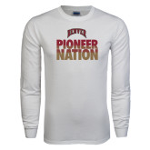 White Long Sleeve T Shirt-Pioneer Nation