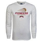 White Long Sleeve T Shirt-Pioneers Lacrosse Modern