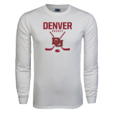White Long Sleeve T Shirt-Denver Hockey Tall Crossed Sticks