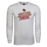 White Long Sleeve T Shirt-Pioneers Hockey Slanted Banner Text