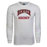 White Long Sleeve T Shirt-Arched Denver Hockey
