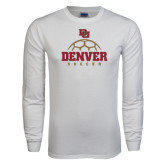 White Long Sleeve T Shirt-Denver Soccer Half Ball