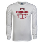 White Long Sleeve T Shirt-Pioneers Basketball Half Ball