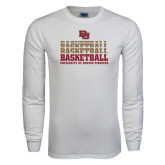 White Long Sleeve T Shirt-Basketball Repeating