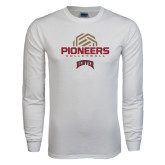 White Long Sleeve T Shirt-Pioneers Volleyball Geometric Half Ball
