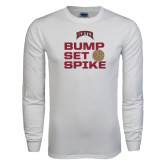 White Long Sleeve T Shirt-Bump Set Spike Volleyball
