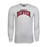 White Long Sleeve T Shirt-Arched University of Denver