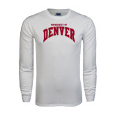 White Long Sleeve T Shirt-Arched U of Denver 2 Color Version