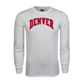 White Long Sleeve T Shirt-Arched Denver 2 Color Version